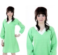 60s Aline Dress MOD Green White Puff Sleeve by neonthreadsdesigns, $38.00