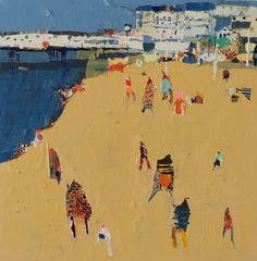 becky blair * artist - paintings: summer town Landscape Art, Landscape Paintings, Bonnard, Ship Paintings, Water Art, A Level Art, Coastal Art, Beach Scenes, Swimmers