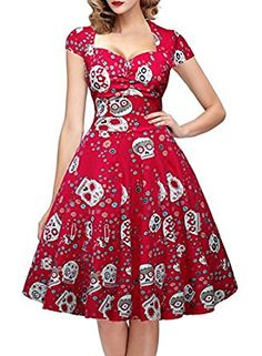 Amazon.com: OTEN Women's Floral Sugar Skull Cap Sleeve Sewing Casual Retro Party Rockabilly Dress: Clothing