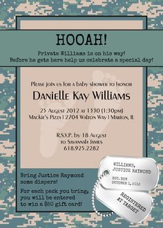 5 x 7 Boy Camo Baby Shower invitation by LynLaBelleDesign. Available in any color!
