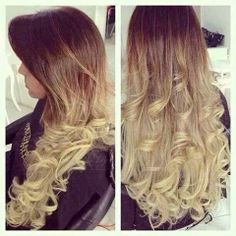 ombre color hair, long curly style