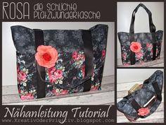 stoff tasche tutorial free kostenlos anleitung nähen diy idee groß bag shopper außentaschen stoff nähen selber machen handmade selfmade rose...