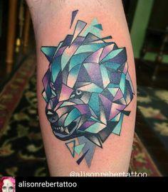 @alisonrebertattoo Watercolor Geometric Bear Tattoo