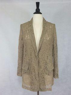 CHICO'S NEW $149 Lace Boyfriend Blazer 2 = 12/14 CHAI TAN Womens Jacket Top NWT  #Chicos #Blazer #EveningOccasion