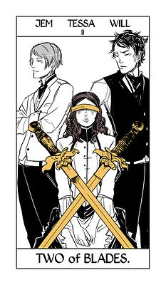 Cassandra Jean - Shadowhunter Tarot - Two of Blades (Jem Carstairs, Tessa Gray & Will Herondale)