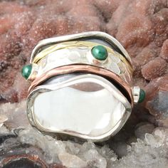 DESIGNER 925 STERLING SILVER MALACHITE RING 7.72g DJR9897 SZ-8 #Handmade #Ring