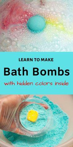 DIY Bath Bomb Recipes Learn to make DIY bath bombs with hidden colors inside similar to the LUSH one Wine Bottle Crafts, Mason Jar Crafts, Mason Jar Diy, Diy Savon, Savon Soap, Diy Home Decor Projects, Diy Projects To Try, Art Projects, Diy Nagellack