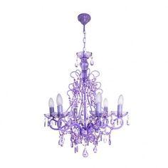 Lámpara techo araña candelabro 6 brazos violeta IX14573