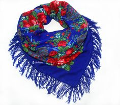 b2325b1728a8 Schal-Tuch-Blumen-Blau-Wolle-chale-a-la-russe-russisch-russian-shawl-foulard-russe-ruso-russo-toquilla-blue-russian-timati-black-star-scarf-sasha  ...
