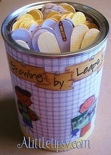 """Pre-School in a can."" Educational activities are written on the back of color coded popsicle sticks. Good idea for future library storytimes and activities, especially in a school library."