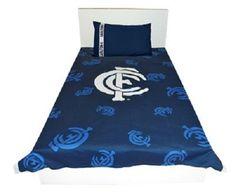Carlton Blues Single Size AFL Football Doona cover & Pillowcase set