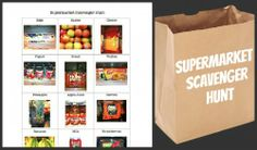 Supermarket scavenger hunt. print the pre-made one, or learn how to make one that matches your shopping list.