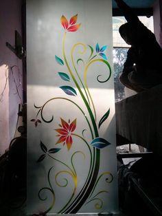 Glass Partition Designs, Window Glass Design, Frosted Glass Design, Glass Painting Designs, Paint Designs, Rangoli Side Designs, Glass Corner Shelves, Etched Mirror, Window Hanging