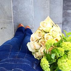 Sunday overalls and flowers.... #ootd #prettythings #denim #clogs