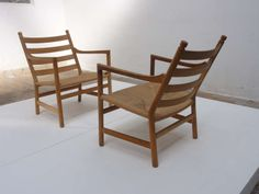 Pair of CH44 Hans Wegner lounge chairs , Carl Hansen, 1965, signed   From a unique collection of antique and modern lounge chairs at http://www.1stdibs.com/furniture/seating/lounge-chairs/