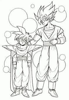 dragon ball z goku and gohan super saiyan coloring page - Dbz Coloring Pages