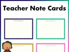 These cards are a form of correspondence cards to communicate easily to students, parents, and faculty. They can be used as note cards, informal invitation. Note Card Template, Card Templates, School Resources, Teaching Resources, New School Year, Back To School, Correspondence Cards, Powerpoint Format, Mindfulness Activities