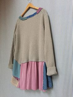 Upcycled Artsy sweater tunic Recycled Cotton Sweater Top