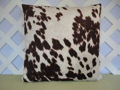 Faux Cowhide Pillow Cover in Brown Ivory /  by JRsPillowsandBags