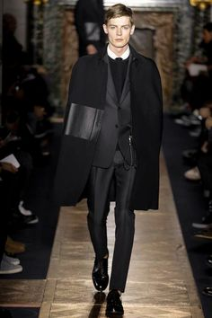 Fall 2013 Valentino: Men's high fashion. I love monochromatic black. Saturate that hue!