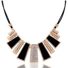 F & U N302 Nuevo Diseño de Moda Perlas de Esmalte Bib Cuero Trenzado de Cuerda Collar de Cadena Envío Gratis Feida