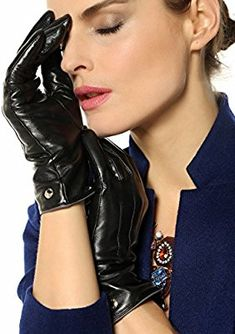Elma Women's Touch Screen Italian Nappa Leather Winter Texting Gloves Pure Cashmere Warm Lining (Black, 6.5): Amazon.ca: Clothing & Accessories