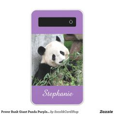 "Power Bank Giant Panda Purple or Your Color Custom - This purple, personalized power bank is decorated with my original photograph of a cute giant panda surrounded by stalks of bamboo. Easy to personalize. If you want to choose a different background color, click ""Customize"" and then click the eyedropper. Original photograph by Marcia Socolik, taken in Chengdu, China. All rights reserved © 2015 Alan & Marcia Socolik #PowerBank"