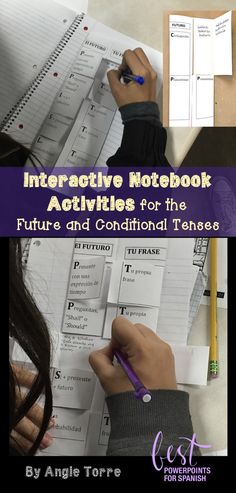 "Spanish Interactive Notebook Activities for the Future and Conditional Tenses by Angie Torre: Foldables, student handouts, PowerPoints, and student instructions.  Students practice all the wasy to talk about the future, how to use the  future and conditional to talk about probability and the structure, ""si + presente + futuro""."