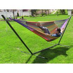 Sunnydaze XXL Thick Cord Mayan Hammock & Hammock Stand (Multi-color) (Cotton) #Sunnydaze Decor, Patio Furniture