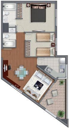 Very compact two bedroom modern house plans Modern House Plans, Small House Plans, House Floor Plans, Layouts Casa, House Layouts, Home Design Plans, Plan Design, Tiny Spaces, Small Apartments