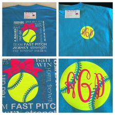 Softball monogram tshirt with cute softball wording on back along with softball and bow. Front of shirt softball/monogram option