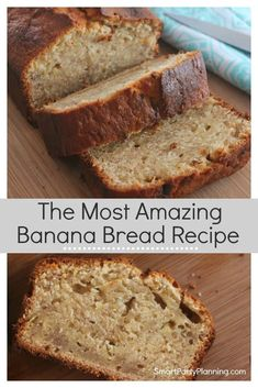The Most Amazing Easy Moist Banana Bread Recipe An easy banana bread recipe the whole family will love. A simple, moist banana bread that could easily have chocolate chips added for more deliciousness Easy Bread Recipes, Banana Bread Recipes, Cooking Recipes, Healthy Recipes, Banana Bread Recipe Baking Powder, Banana Bread Recipe Without Vanilla Extract, Banana Bread Recipe 8x8 Pan, Healthy Salads, Banana Recipes Easy Healthy