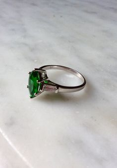 Vintage Sterling Silver Marquise Cut Emerald by TheLittleBeeStudio