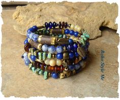 Boho Layered Bracelet Nature Inspired Rustic Earthy by BohoStyleMe