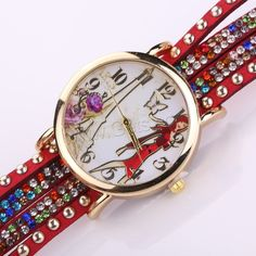 Wrap Watch Velveteen with Glass Zinc Alloy Chinese movement gold color plated with rhinestone 2-strand - Milky Way Jewelry