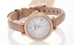 Women's Fossil Heather Mini Sand Leather Band Watch ES3139 | eBay