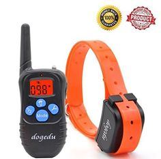 Dogedu DU518DR1 Rechargeable Rainproof 350 Yard Silicone material buttons Orange LED backlight Remote Dog Training ECollar with Vibration shock flashlight Safebeep -- You can get more details by clicking on the image. (This is an affiliate link)