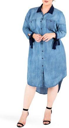 Plus Size Women's Standards & Practices High/low Denim Shirtdress #plussize #fashionaddict #trends #fashion #trendsetter aff