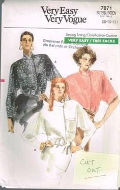 7071 Sewing Pattern Vogue Ladies Asymmetrical Blouse 8 10 12 *CUT OUT*