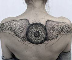 Sketch Style Wing Tattoo by Frank Carrilho
