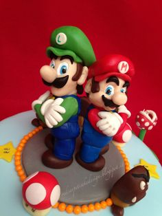 SUPER MARIO BROS CAKE-by Red CArpet Cake Design ® Super Mario Bros, Bolo Super Mario, Super Mario Birthday, Mario Birthday Party, Super Mario Party, Luigi Cake, Mario Bros Cake, Fondant Figures, Mario Y Luigi