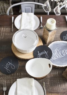 DIY painted wooden rounds centerpiece from MichaelsMakers AKA Design