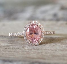 1.53 Cts. Pink Peach Sapphire Diamond Halo Ring in 14K Rose Gold