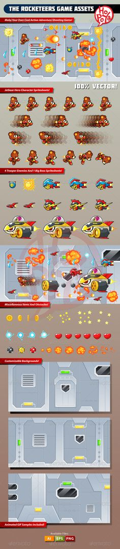 The Rocketeers Game Assets - Download: http://graphicriver.net/item/the-rocketeers-game-assets/7764101?ref=sinzo #Sprites #Game #Assets
