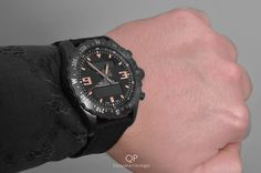 The Breitling Chronospace Military: combining a rugged, black steel design with the latest features in high-tech, multifunctional, electronic chronographs! The typical black steel case, which is achieved by a carbon-based treatment, is especially stealth-like with the comfortable canvas strap, shown in this picture.  #breitling #professional #chronospace #military #chronograph #horloge #amsterdam #horloges #watches #watch
