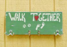 Wood Walk Together Dog Leash holder by Love4PawsCafe on Etsy