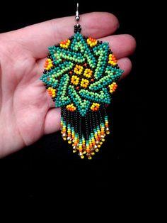 Mexican jewelry Seed bead earrings Dangle earrings Green earrings Fringe earrings Green and orange Huichol bead earrings Beaded jewelry - Green Earrings, Seed Bead Earrings, Diy Earrings, Seed Beads, Fringe Earrings, Earrings Handmade, Diamond Earrings, Beaded Earrings Patterns, Beaded Jewelry
