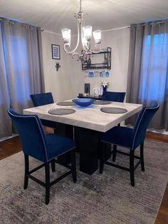 Blue Dinning Room, Blue Living Room Decor, Elegant Living Room, Living Room Designs, Dining Room, First Apartment Decorating, Apartment Bedroom Decor, Room Decor Bedroom, Apartment Living