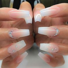 + Ideas for Coffin Shaped Nails to Rock This Summer bridal manicure idea, long coffin-style nails, with pink and white ombre-like nail polish, decorated with rhinestones and glitter - Beliebt Nagel Design Bride Nails, Prom Nails, Trendy Nails, Cute Nails, Nails Design With Rhinestones, Best Acrylic Nails, White Acrylic Nails With Glitter, Wedding Acrylic Nails, Bling Wedding Nails
