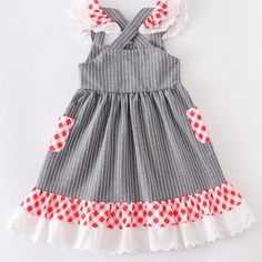 Red Checkered Dress – Tots By Ty Tea Red Checkered Dress, Kids Coats Girls, Tea, Lace, Cotton, Dresses, Vestidos, Racing, Dress